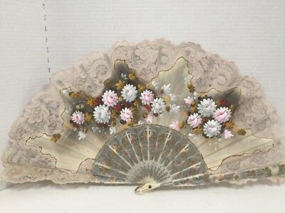 Antique Victorian Hand Painted Carved Ladies Fan Foldable Signed Lace Flowers