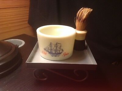 Vintage Old Spice Ship Shaving Cup by Shulton and Ever-Ready 100 Brush
