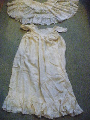 Vintage Victorian Lace Christening Gown, Cream With Lace Cape.
