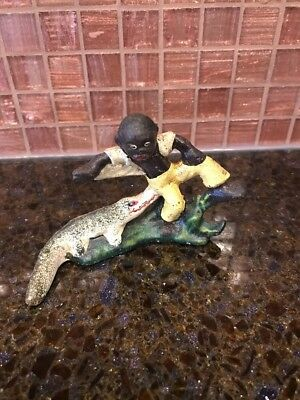 "Black Americana Boy on Alligator Cast Iron Bottle Opener 2 3/4"" Tall x 4"" Wide"
