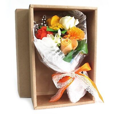 Boxed Hand Soap Flower Bouquet - Orange