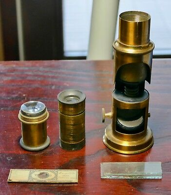 France Vintage Antique Brass Field Microscope in Wood Case