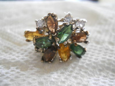 Vintage Panetta Sterling Ring Multi Colored Stones Original Box Stunning Signed