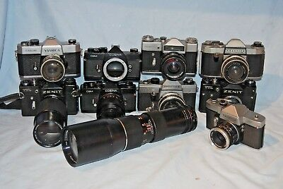 #d12 Joblot Of Screw Fit Cameras And Lenses