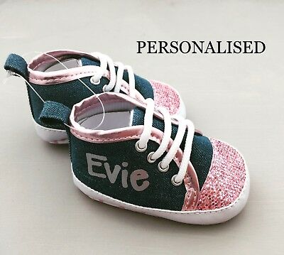 Fantastic baby girl PERSONALISED baby glitter shoe/trainers ANY NAME UNIQUE GIFT