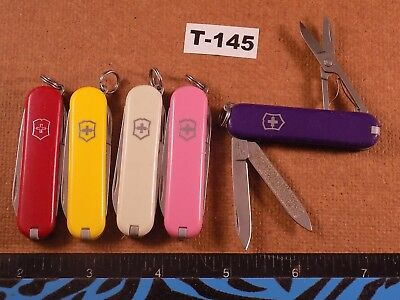 Lot of Five Mixed Victorinox Classic SD Swiss Army Knives