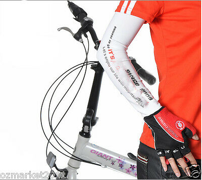 Coolmax + Lycra Sunscreen Riding White Arm Sleeves Sleeve Cuff