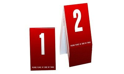 Table Numbers 1-20- Red w/white number, Tent style, Free shipping
