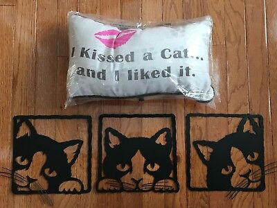 """""""I KISSED A CAT AND I LIKED IT"""" Pillow - Cat Lover Pillow & Free Wall Hanging!"""