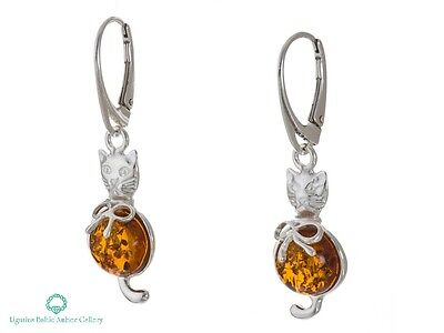 NATURAL BALTIC AMBER STERLING SILVER  925 Earrings Kitten - Cat Certified +BOX