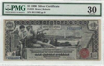 1896 $1 Silver Certificate EDUCATIONAL NOTE Large Size PMG 30 Fr 225 BETTER FR #