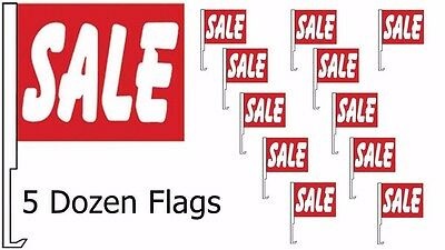 CAR DEALER SUPPLIES 60 Car Window Clip On Flags SALE Red w/ Large White Letters