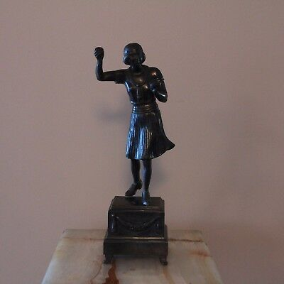 French Art Deco Bronzed Spelter Figurine of Female