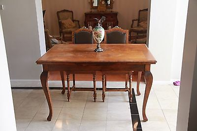 French Antique Dining Table & Six French Antique Solid Oak Dining Chairs