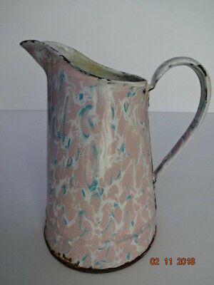 End of Day ~ Pink, Blue & White Pitcher  French Graniteware Enamelware