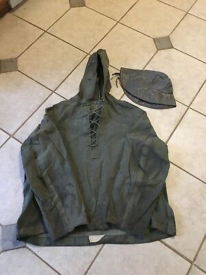 WW2  USN Navy Foul Weather Pullover Deck Parka Jacket Medium With Hat