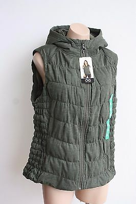 Be by Blanc Noir Olive Green Women's Vest Hooded Size XL