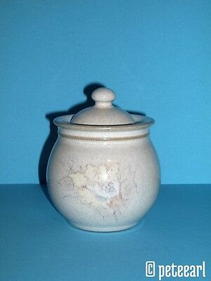 1990s English Denby Small Pot with Lid and Flower Decor by Alan Pickering