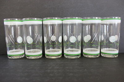 Vintage Set of 6 CULVER Golf Theme Tall Drinking Glasses White Green Graphics
