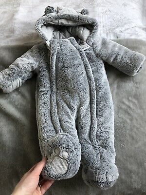 George Boys Girls Grey Fur Snowsuit 3-6 Months Winter Coat