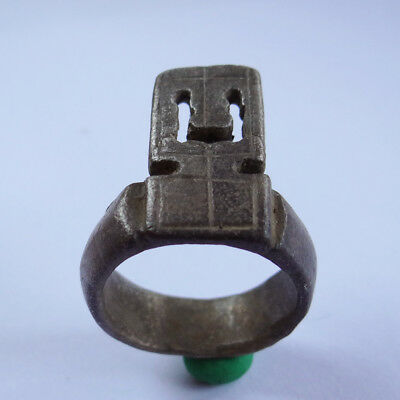 Roman Ancient Artifact Silver Ring With Key