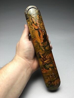 Antique Qajar Persian Laquer Painted Sliding Pen Case & Silver Filigree Knife
