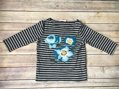 Mini Boden Girls Gray Striped Long Sleeve Shirt with Blue Flowers (5-6 Years)