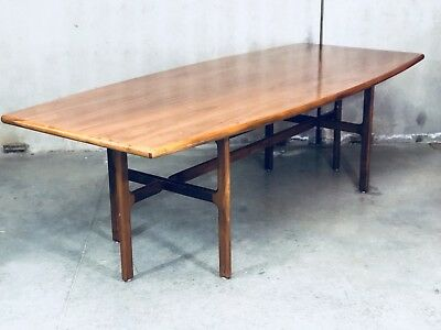 Mid Century Modern Jens Risom Dining Table Conference Walnut