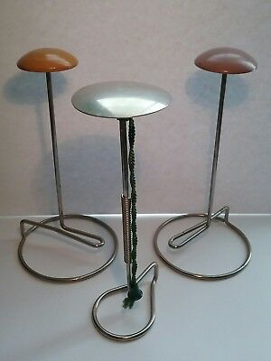 3 Vintage HAT STANDS - Metal and Wood ART DECO HAT STAND - Chrome - No Damage