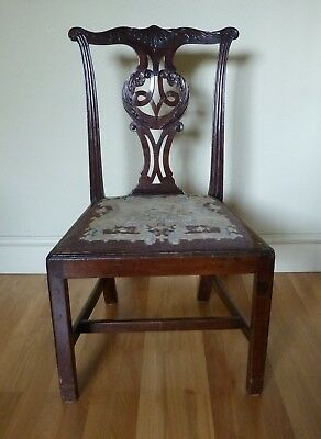 Antique Chippendale Style Heavy Dining Chair, Mahogany, 18th century (?)