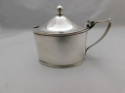 Good Edwardian Silver Mustard Pot-With Blue Liner - Hm 1915