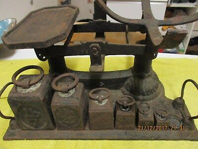 Antique Cast Iron Farm/shop Weighing Scales.Collector's piece w/Historic Detail.