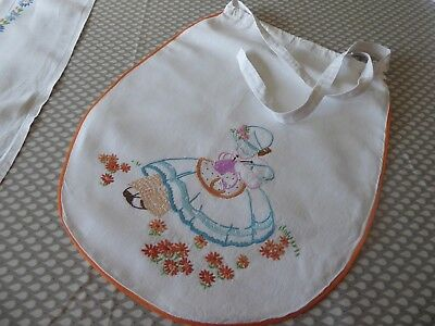 Vintage Hand Embroidered Linen Craft/shoe Bag/pinny With  Little Crinoline Lady
