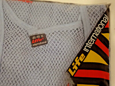 VINTAGE 1969 LIFE INTERNATIONAL XL 46-48 Fashion Underwear Blue Mesh Shirt-NOS