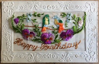 Antique French Silk Pc Happy Birthday Exotic Birds Pansies And Flowers P.r Paris