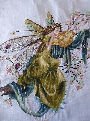 Vintage Hand Embroidered Cross Stitch Picture Panel- Stunning Magical Fairy