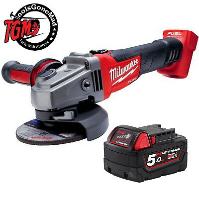 """Milwaukee M18Cag125Xpd 125Mm 5"""" Fuel Brushless Angle Grinder+5Ah Bat Not Import"""