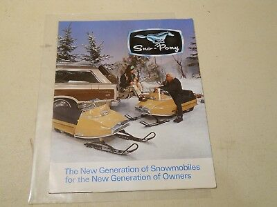 Vintage Sno-Pony Snowmobile Dealer Brochure, from early 1970's.