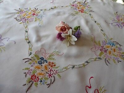 Vintage Hand Embroidered Linen Tablecloth=Beautiful Floral Ribboned  Bouquets