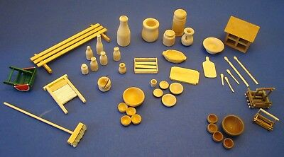 Vintage 45 pc lot of wood miniature dollhouse accessories.