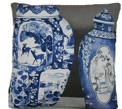 """Pierre Frey Cushion Cover Fabric Chinoiserie Ming Vases Printed Blue Grey 18x18"""""""