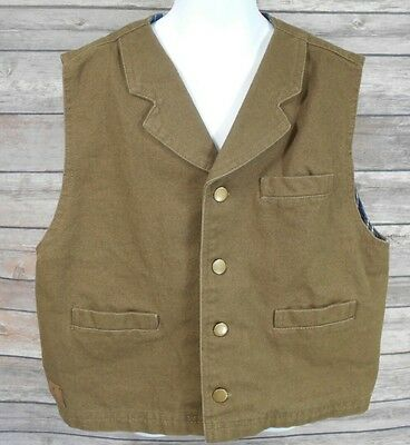 Boy's Cody James Durable outerwear brown button front vest with pockets Sz XL