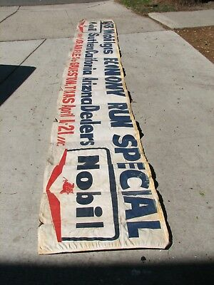 Vintage 1958 MOBIL GAS Economy Run Special RACE BANNER L.A Calif to Galveston TX