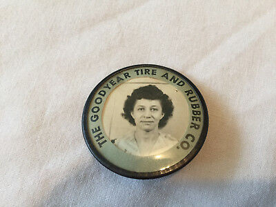 Vintage GOODYEAR TIRE AND RUBBER CO Employee Badge Pinback FEMALE LADY Akron Oh