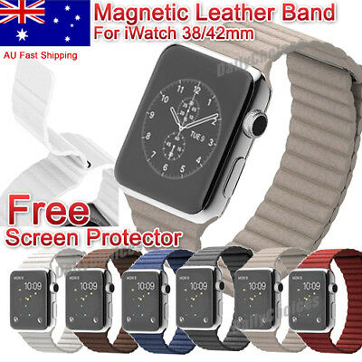 Leather Loop Magnetic Loop Watch Band For Apple Watch Iwatch 1 2 3 Series38/42mm