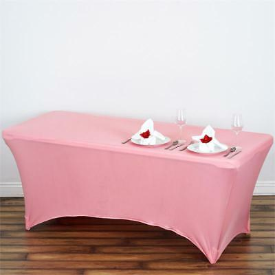 Rose Quartz Pink 6 ft RECTANGLE SPANDEX STRETCH TABLE COVER Fitted Tablecloth