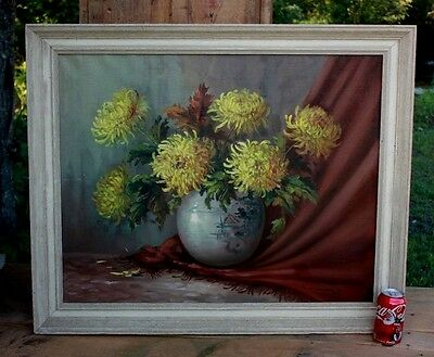 Antique Signed Chinese Oil Painting Vase & Yellow Flowers Girl O/c
