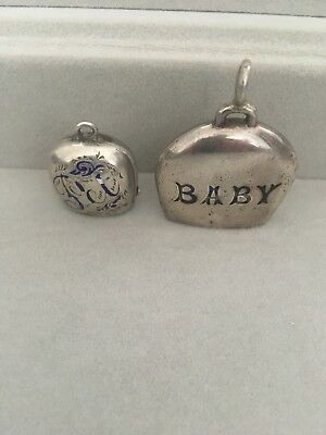 silver baby rattle x 2