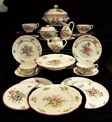 French Antique Part dinner set K. G. Luneville France Old Strasbourg 22 pieces