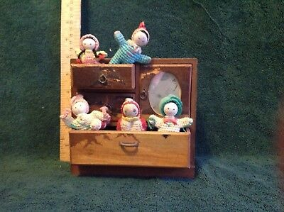 Antique oriental jewel box with little crocheted Chinese dolls